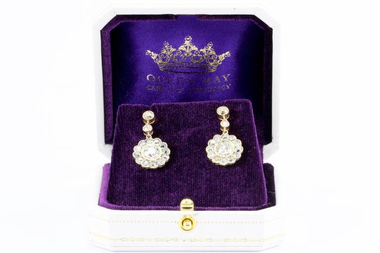 GIA Edwardian 5 Carat Old European Diamond Drop Earrings, circa 1900 For Sale 4