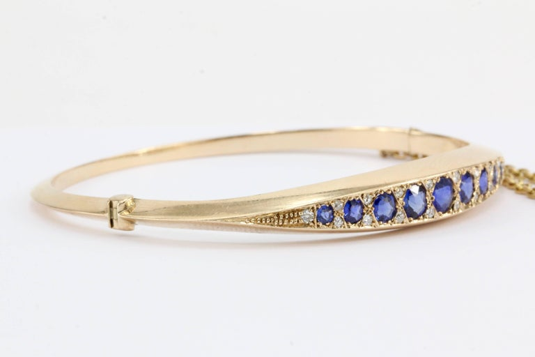 Late Victorian Victorian 15 Karat Gold Natural Sapphire and Old Mine Diamond Bangle Bracelet For Sale