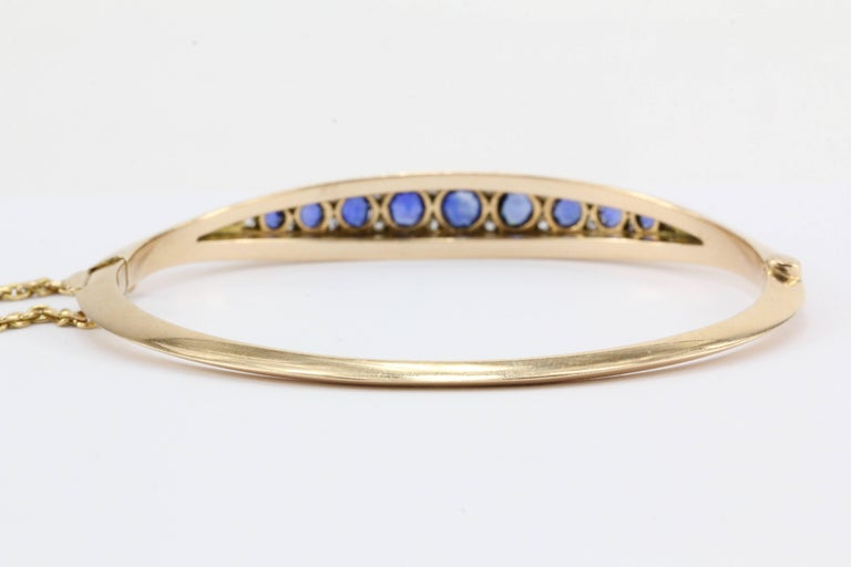Victorian 15 Karat Gold Natural Sapphire and Old Mine Diamond Bangle Bracelet In Excellent Condition For Sale In Cape May, NJ