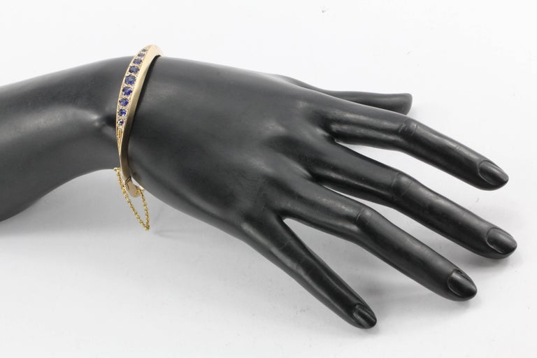 Victorian 15 Karat Gold Natural Sapphire and Old Mine Diamond Bangle Bracelet For Sale 2
