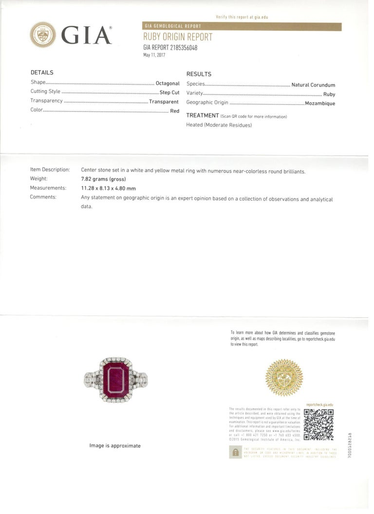 4 5 Carat GIA Ruby in White Gold with Diamond Setting Engagement Ring