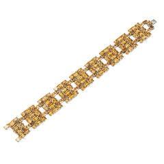Modern Citrine Link Bracelet in White Gold