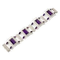 Rock Crystal Amethyst Diamond Platinum Link Bracelet
