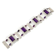 Rock Crystal Amethyst Diamond Platinum Link Bracelet