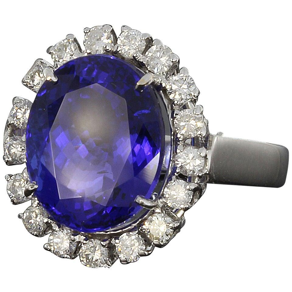 Tansanit Diamant 14 Karat Weißgold Ring