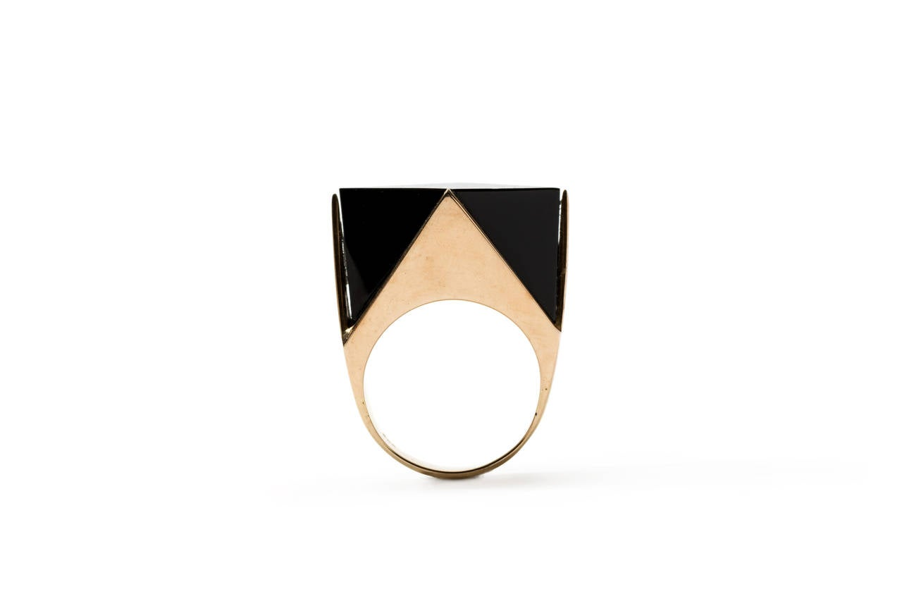 Arts and Crafts Modern Onyx Gold Ring For Sale