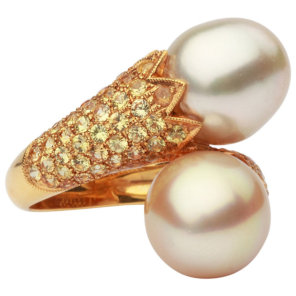 Double South Sea Pearl Diamond Gold Cocktail Ring