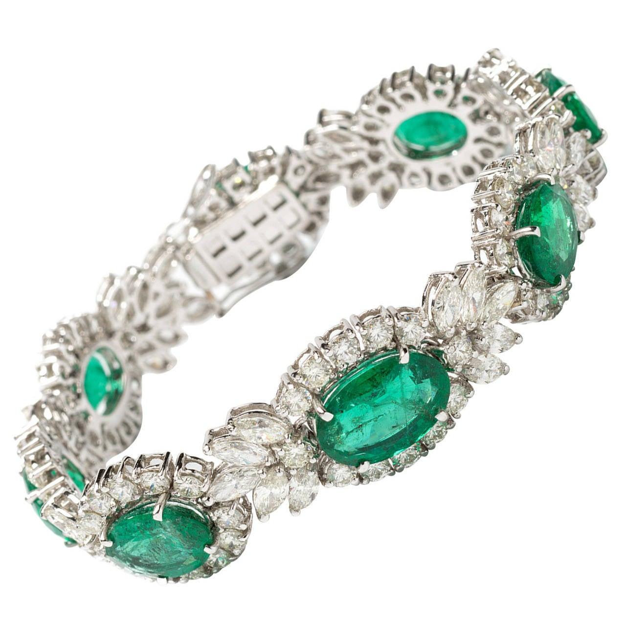 1950s Emerald Diamond Gold Bracelet