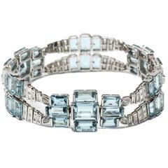 Aquamarine Diamond White Gold Bracelet, circa 1965