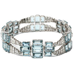 Aquamarine Diamond White Gold Bracelet, circa 1965
