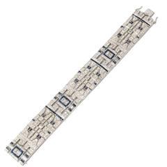 French Sapphire Diamond Gold Bracelet