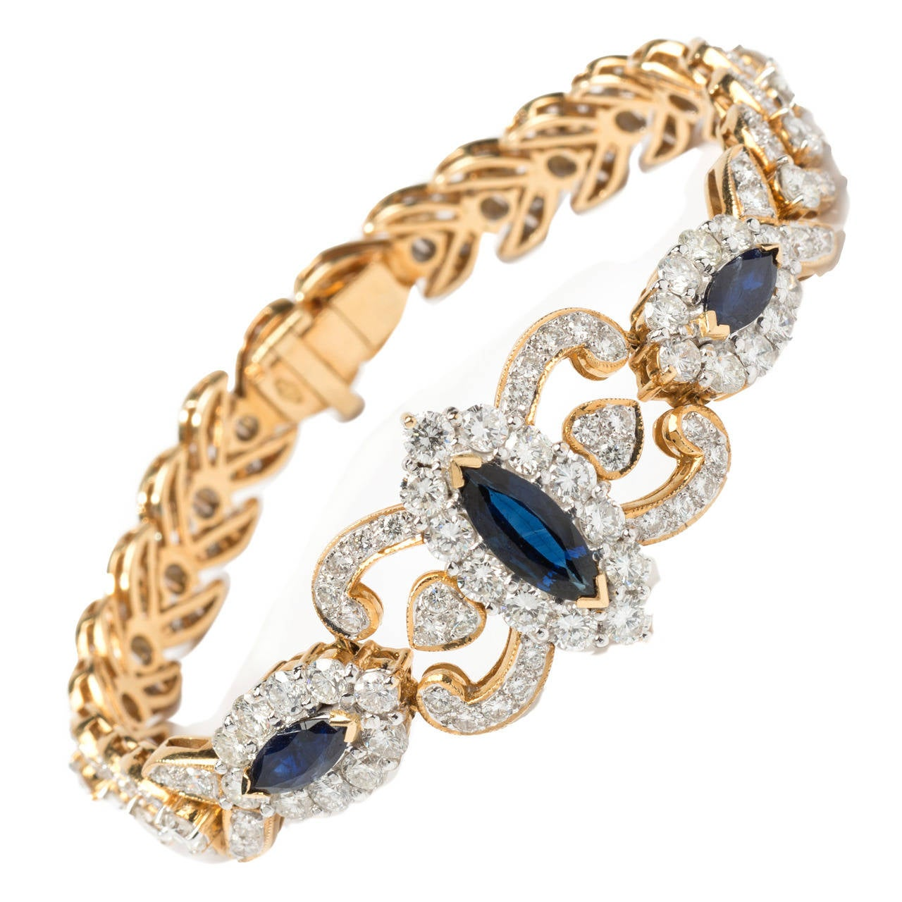 1930s Sapphire Diamond Yellow Link Gold Bracelet