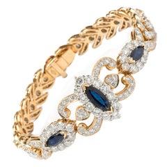 Diamond Sapphire Gold Link Bracelet