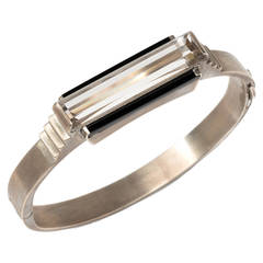Art Deco Rock Crystal Onyx Gold Bangle