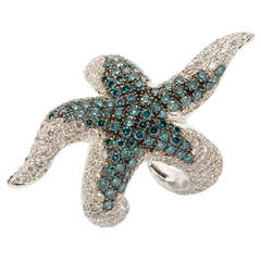 Modern Diamond Gold Starfish Ring