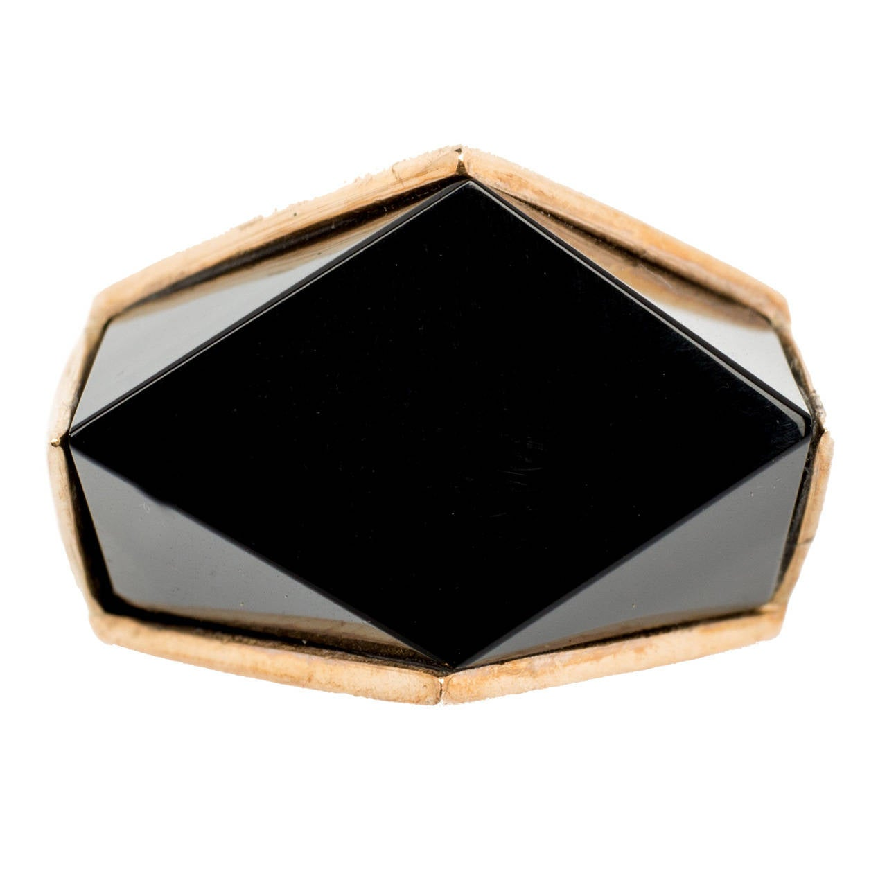 Modern Onyx Gold Ring For Sale