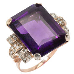 Art Deco Large Amethyst Diamond Gold Ring