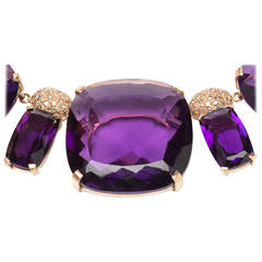 An Attractive Amethyst Diamond Gold Drop Necklace