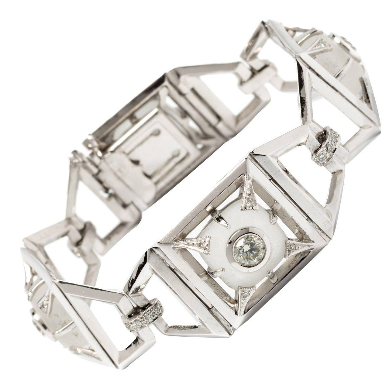 Modern Rock Crystal Diamond Gold Link Bracelet