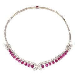Art Deco Ruby Diamond Gold Necklace