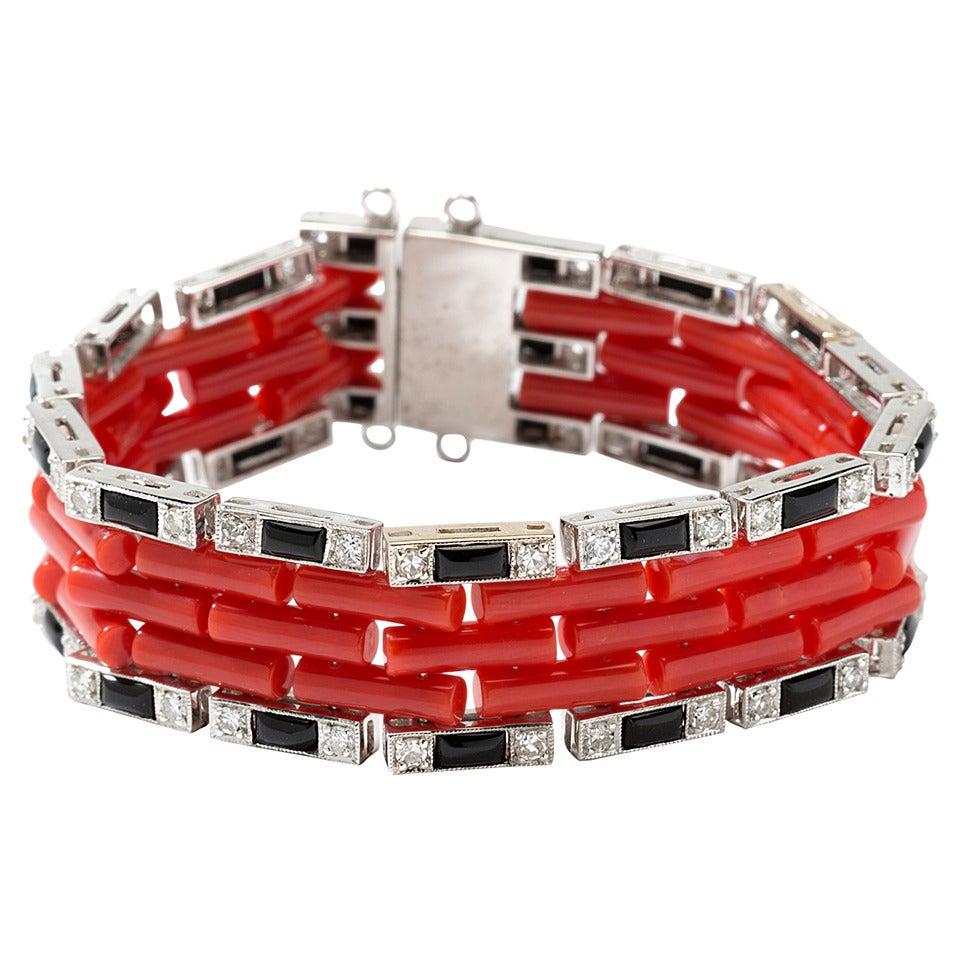 Coral Onyx Diamond Gold Link Bracelet