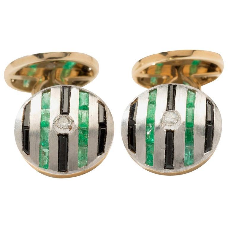 Onyx Emerald Diamond Gold Cufflinks For Sale