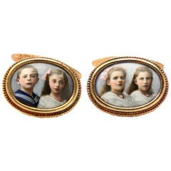Russian Enamel Gold Cufflinks