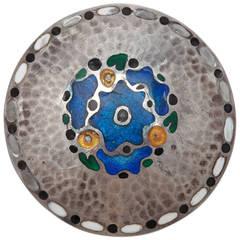 Theodor Fahrner Art Nouveau Round Enamel Silver Brooch