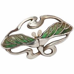Heinrich Levinger Art Nouveau Pearl Plique-a-Jour Silver Brooch