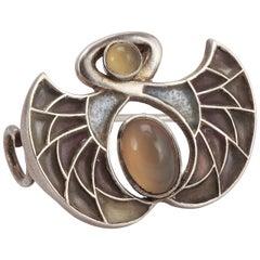 Heinrich Levinger Art Nouveau Plique-a-Jour Silver Brooch
