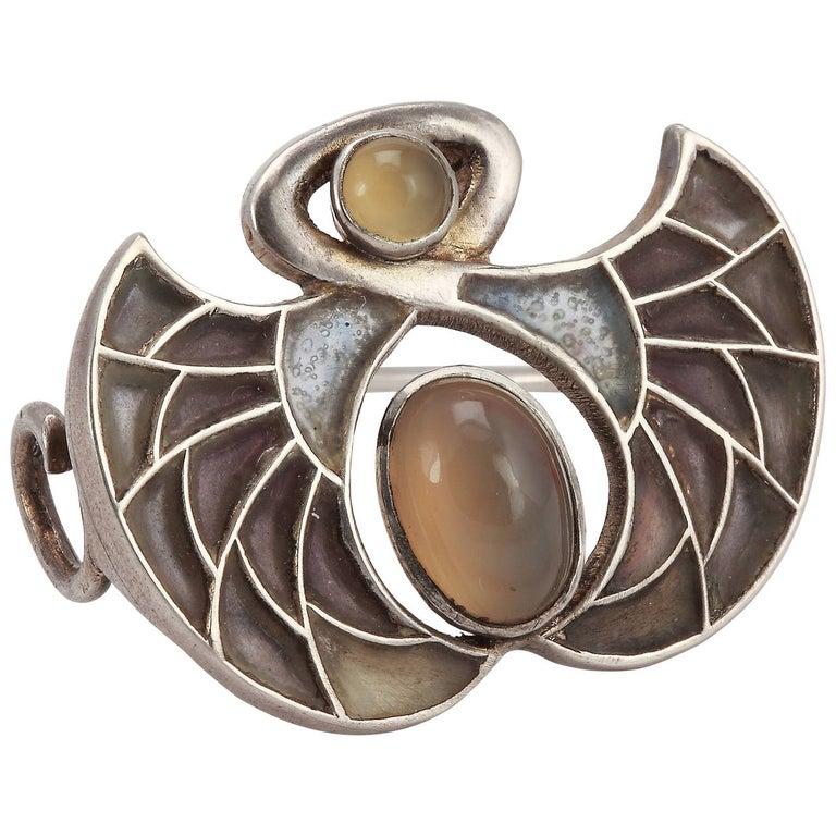 Heinrich Levinger Art Nouveau Plique-a-Jour Silver Brooch For Sale