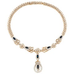 Diamond Sapphire Gold Link Necklace