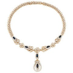 Diamond Sapphire Gold Link Necklace