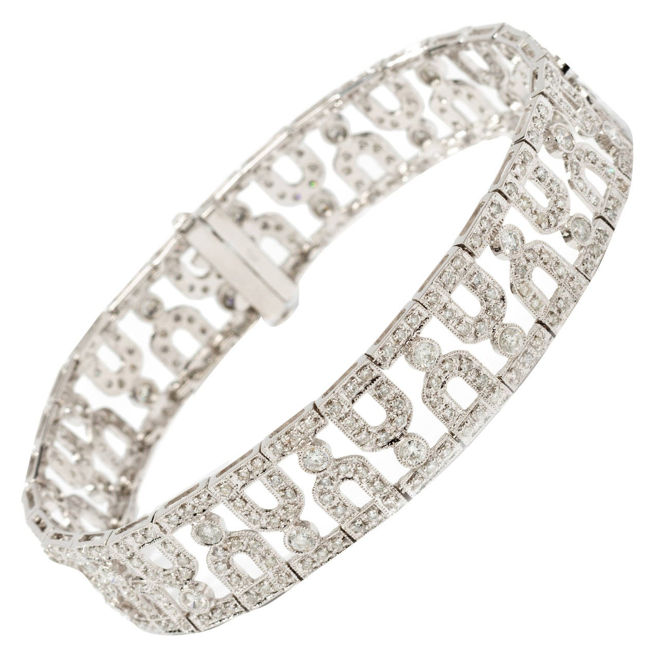Diamond White Gold Link Bracelet