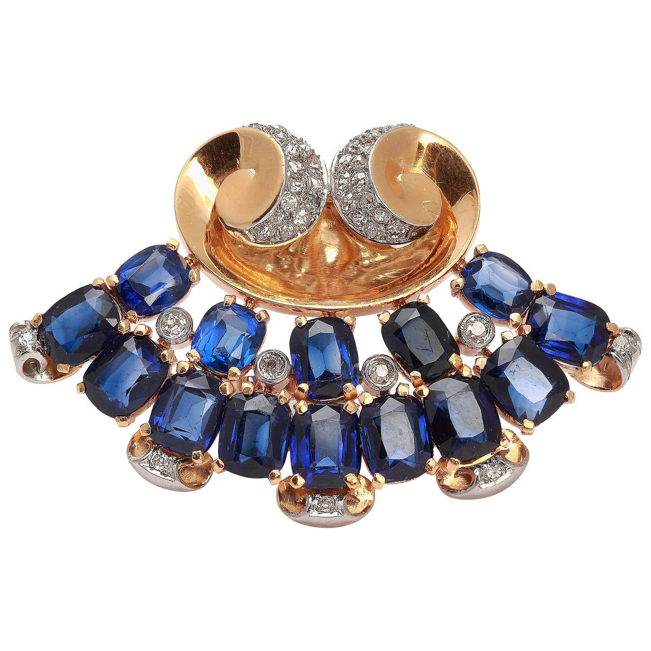 1940s Blue Sapphire Diamond Yellow Gold Platinum Brooch