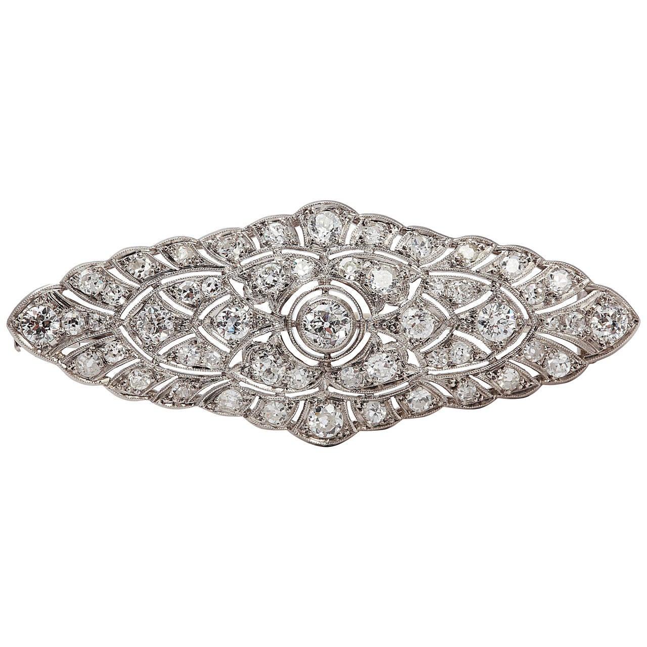 Art Deco Diamond Platinum Brooch For Sale