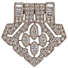 Art Deco Diamond Gold Clip