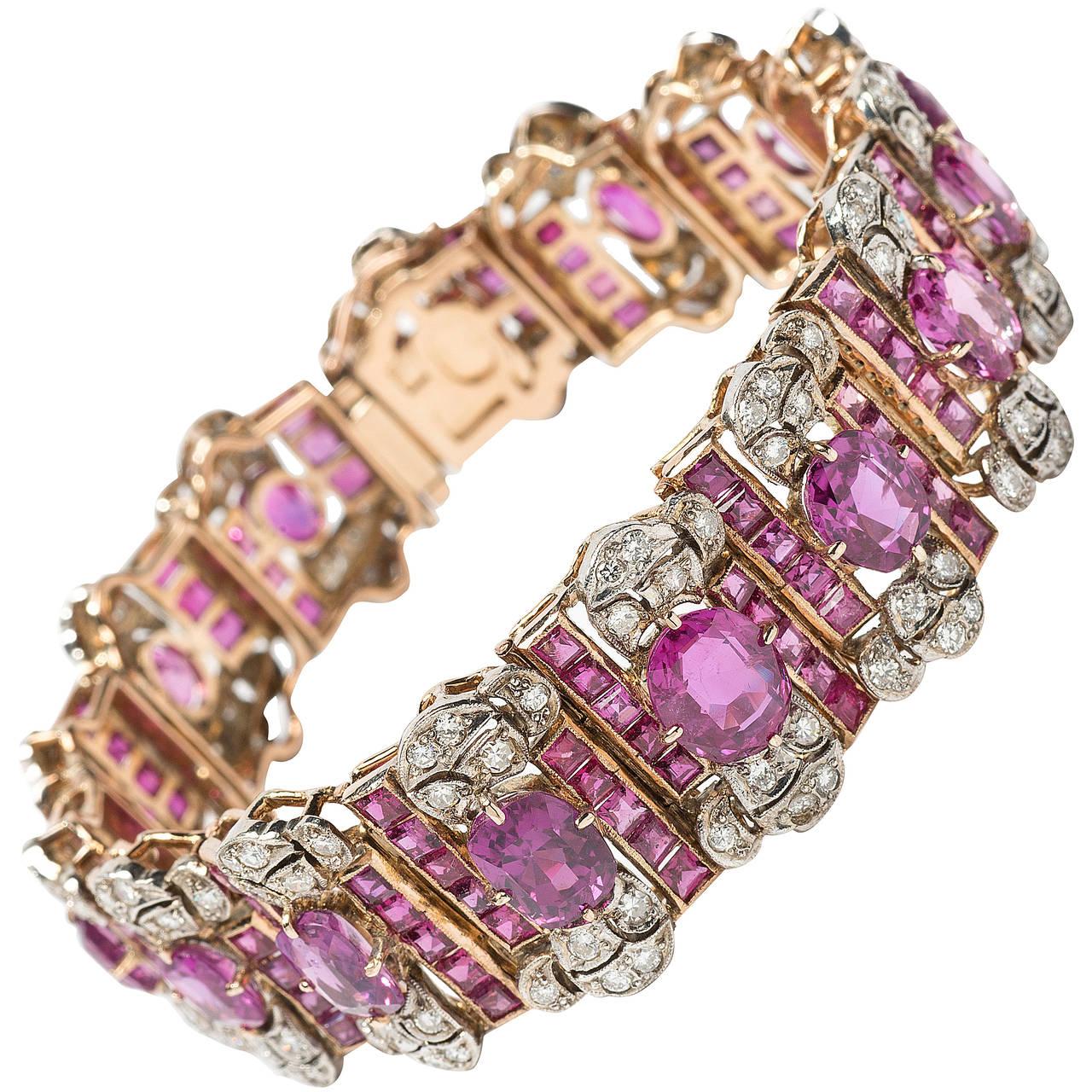 An Opulent Pink Sapphire Diamond Gold Bracelet at 1stdibs
