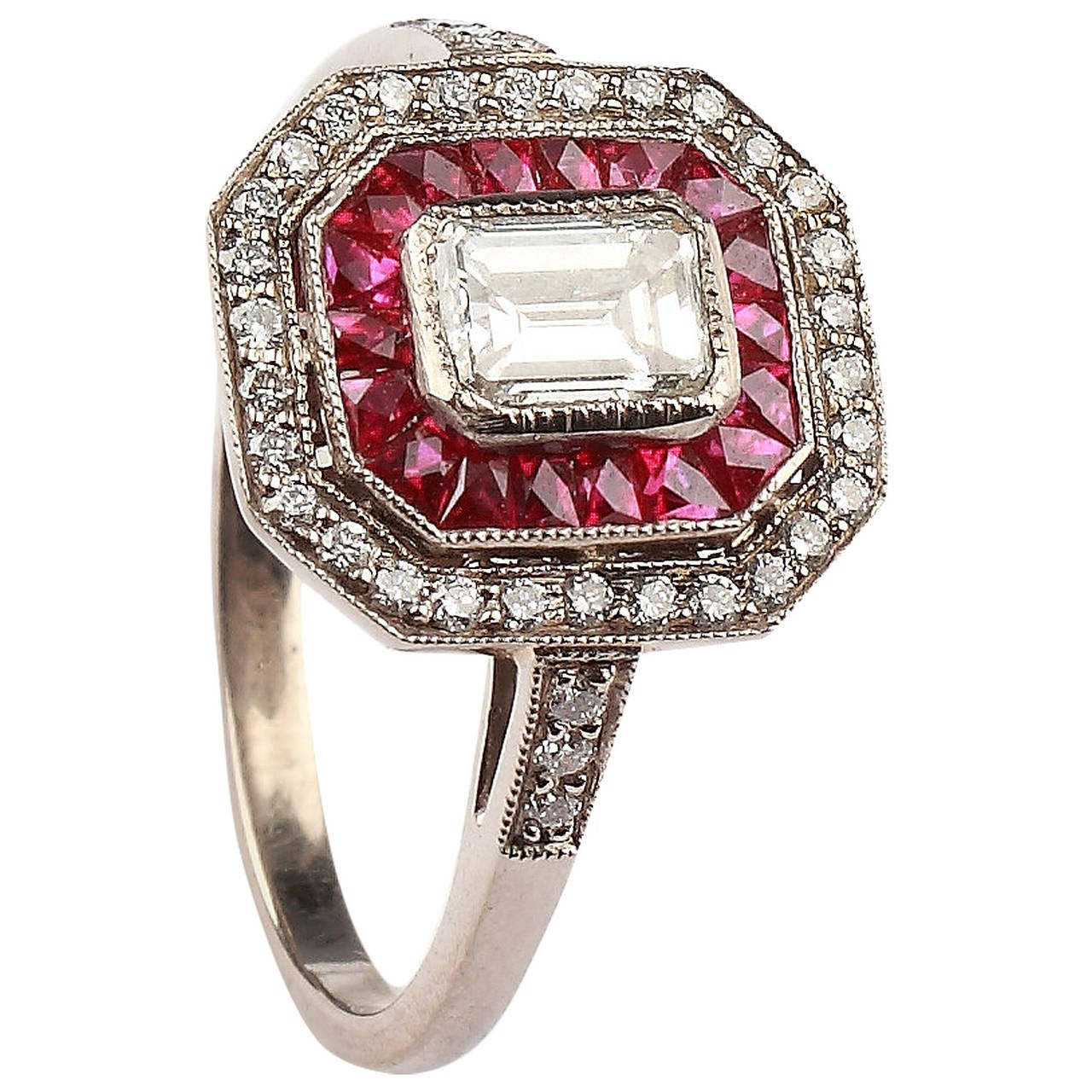 A Fine Ruby Diamond Cluster Ring 1