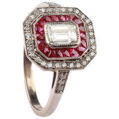 Ruby and Diamond Cluster Gold Ring in Art Deco Style