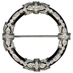 Onyx Diamond Gold Brooch