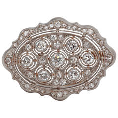 Art Deco Diamond Gold Platinum Brooch