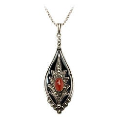 Theodor Fahrner Carnelian Marcasite Silver Pendant and Chain
