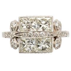 Art Deco Diamond Gold Cocktail Ring