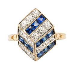 Sapphire Diamond Gold Ring in Geometric Design