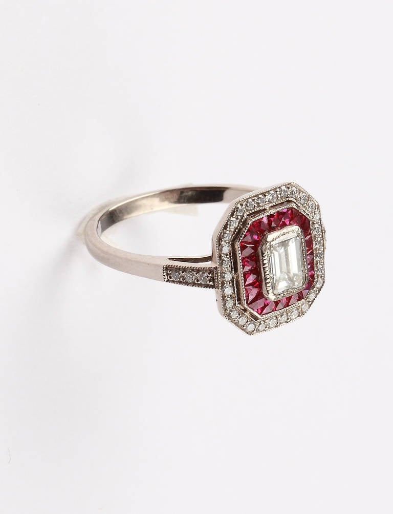 A Fine Ruby Diamond Cluster Ring 2