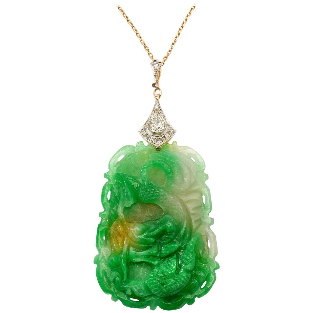 Carved Jade Diamond Gold Pendant