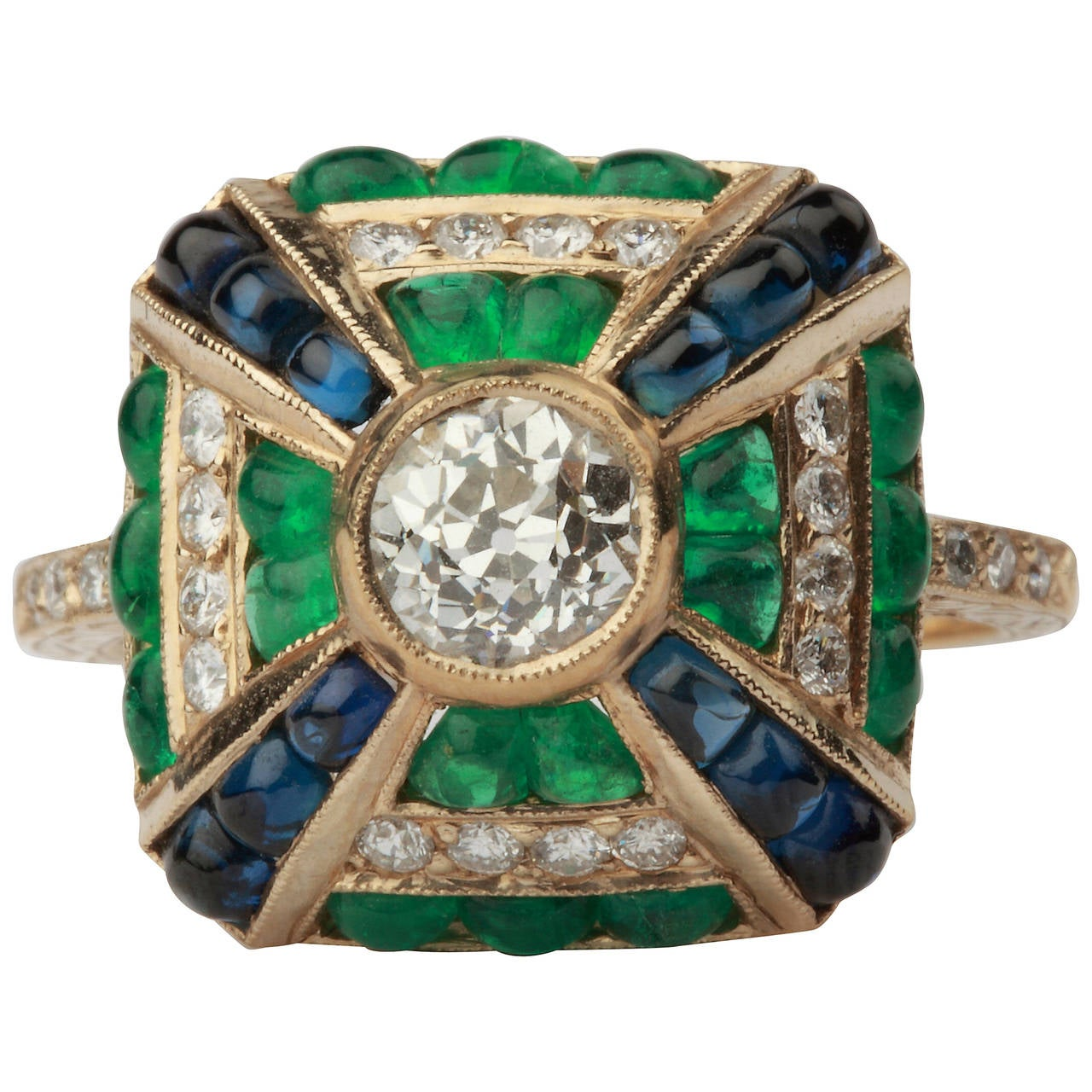 Emerald Sapphire Diamond Gold Cluster Ring at 1stdibs