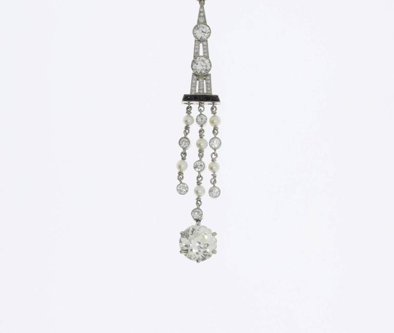 1920s Art Deco Onyx Pearl Diamond Platinum Pendant For Sale 2