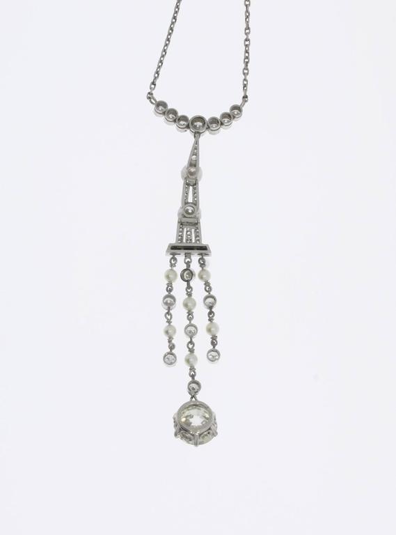 1920s Art Deco Onyx Pearl Diamond Platinum Pendant For Sale 3